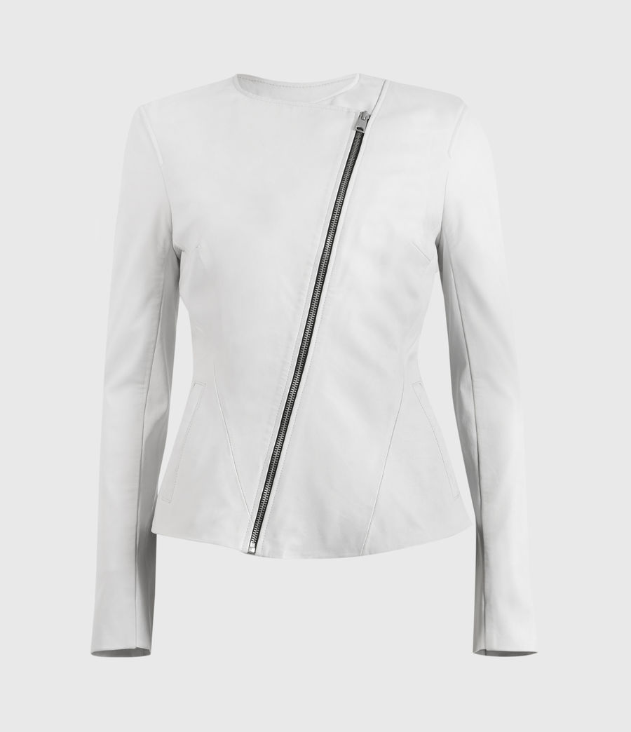 Damen Fawn Leather Biker Jacket (off_white) - Image 5