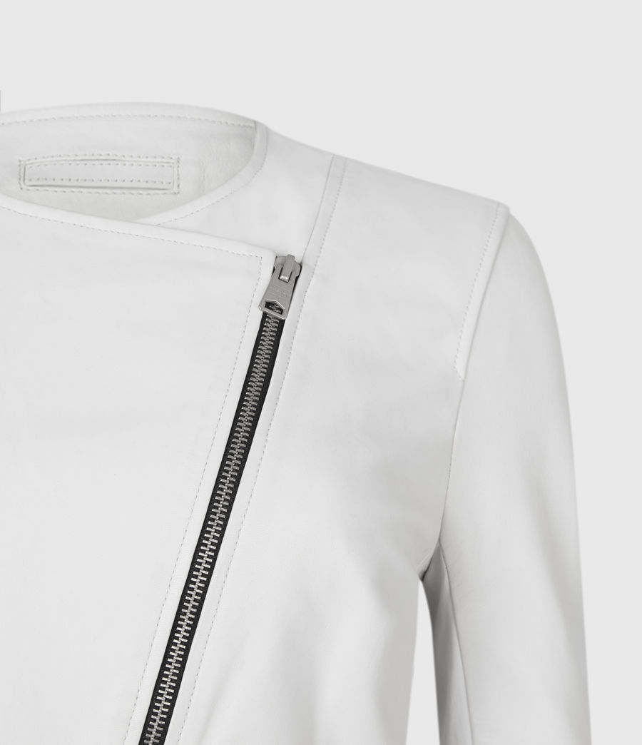 Damen Fawn Leather Biker Jacket (off_white) - Image 6