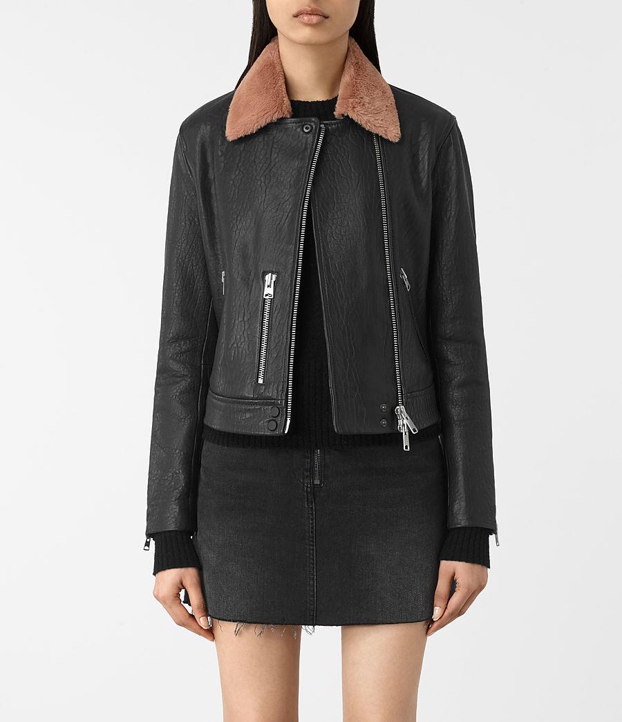 Womens Shorland Leather Biker Jacket (black_pink) - Image 1