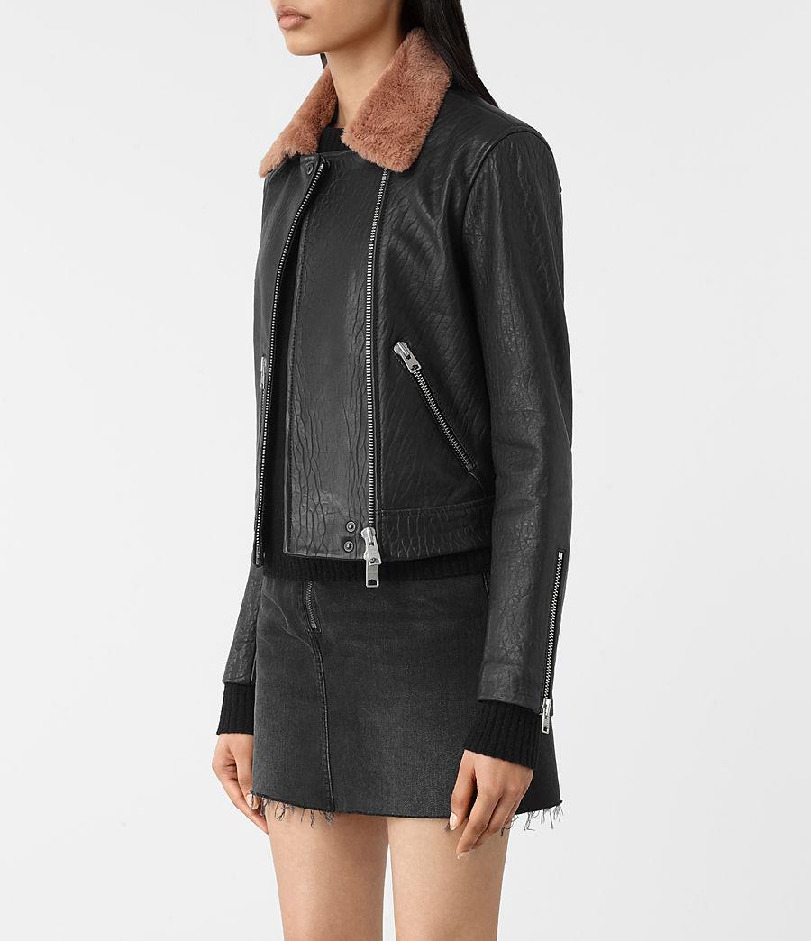 Womens Shorland Leather Biker Jacket (black_pink) - Image 2