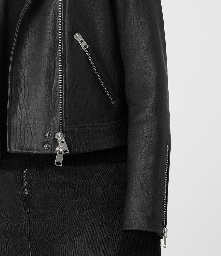 Womens Shorland Leather Biker Jacket (black_pink) - Image 3