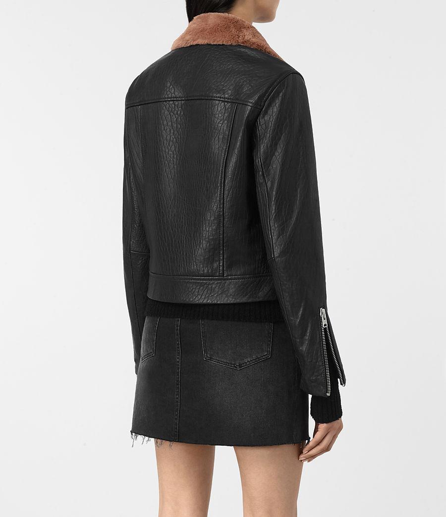 Womens Shorland Leather Biker Jacket (black_pink) - Image 4