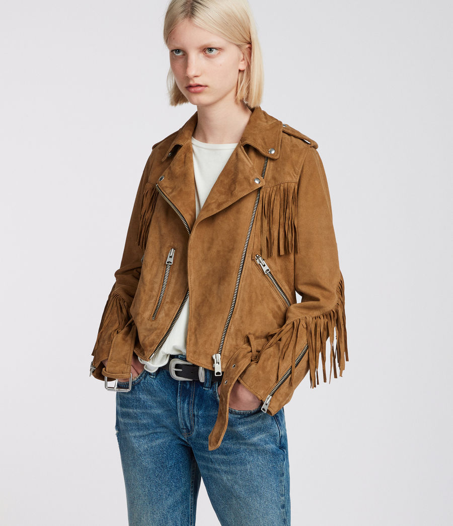 Womens Tassel Balfern Suede Biker Jacket (tan_brown) - Image 1