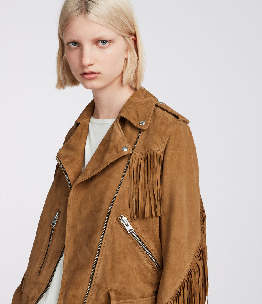 Womens  Suede Tassel Balfern Biker Jacket (tan_brown) - Image 2