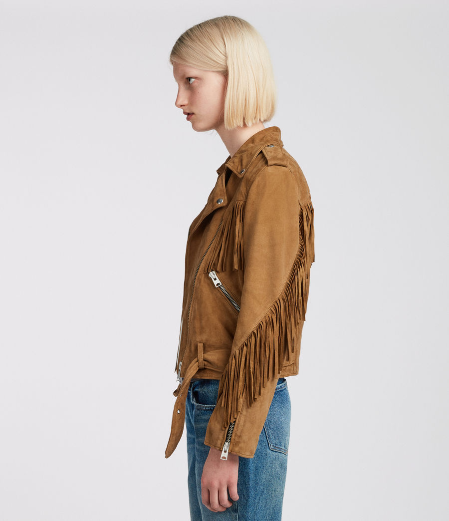 Womens Tassel Balfern Suede Biker Jacket (tan_brown) - Image 3