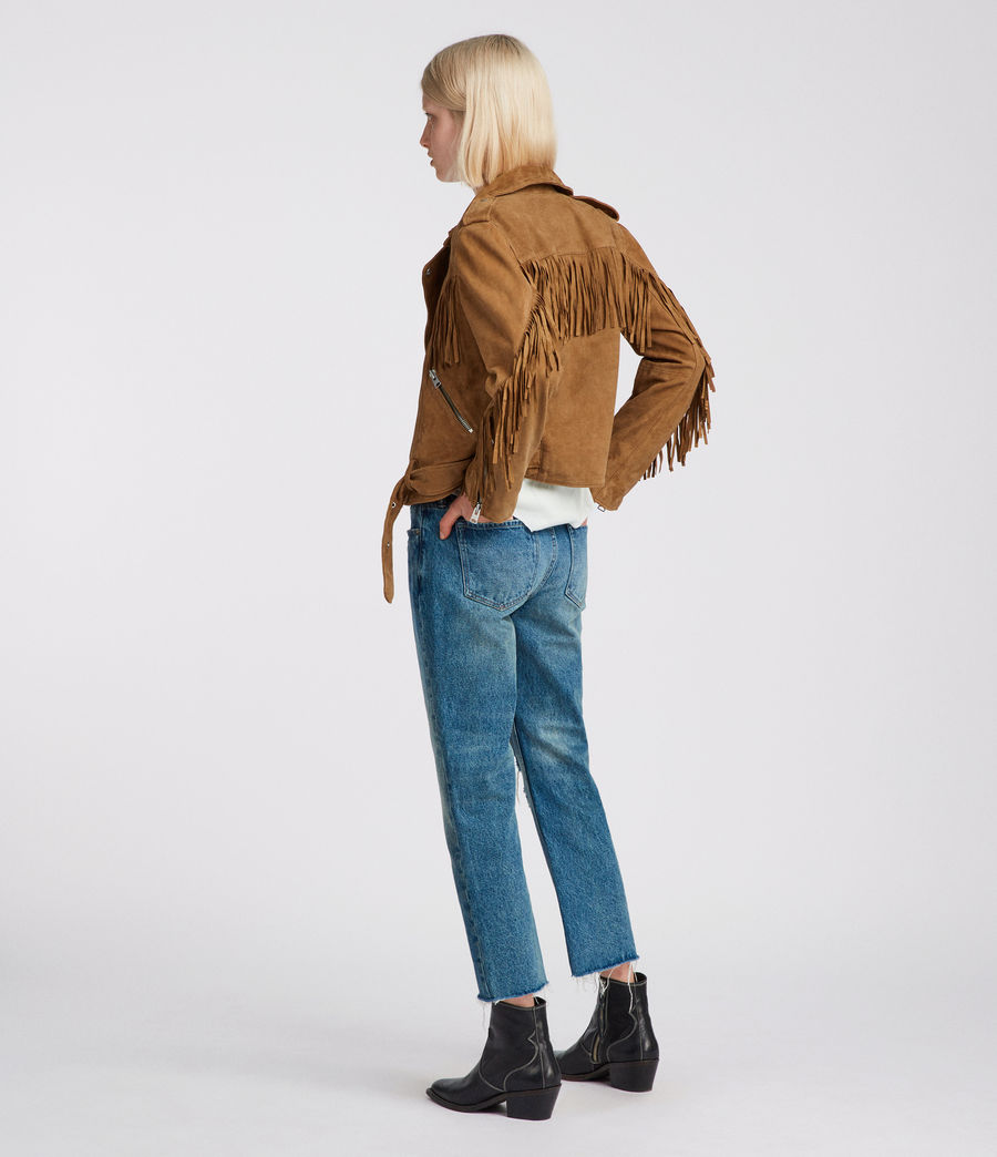 Womens  Suede Tassel Balfern Biker Jacket (tan_brown) - Image 4