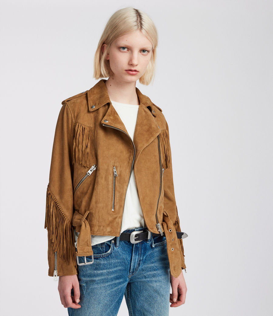 Womens Tassel Balfern Suede Biker Jacket (tan_brown) - Image 5