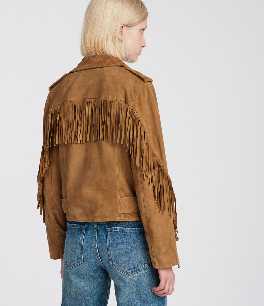 Womens Tassel Balfern Suede Biker Jacket (tan_brown) - Image 6