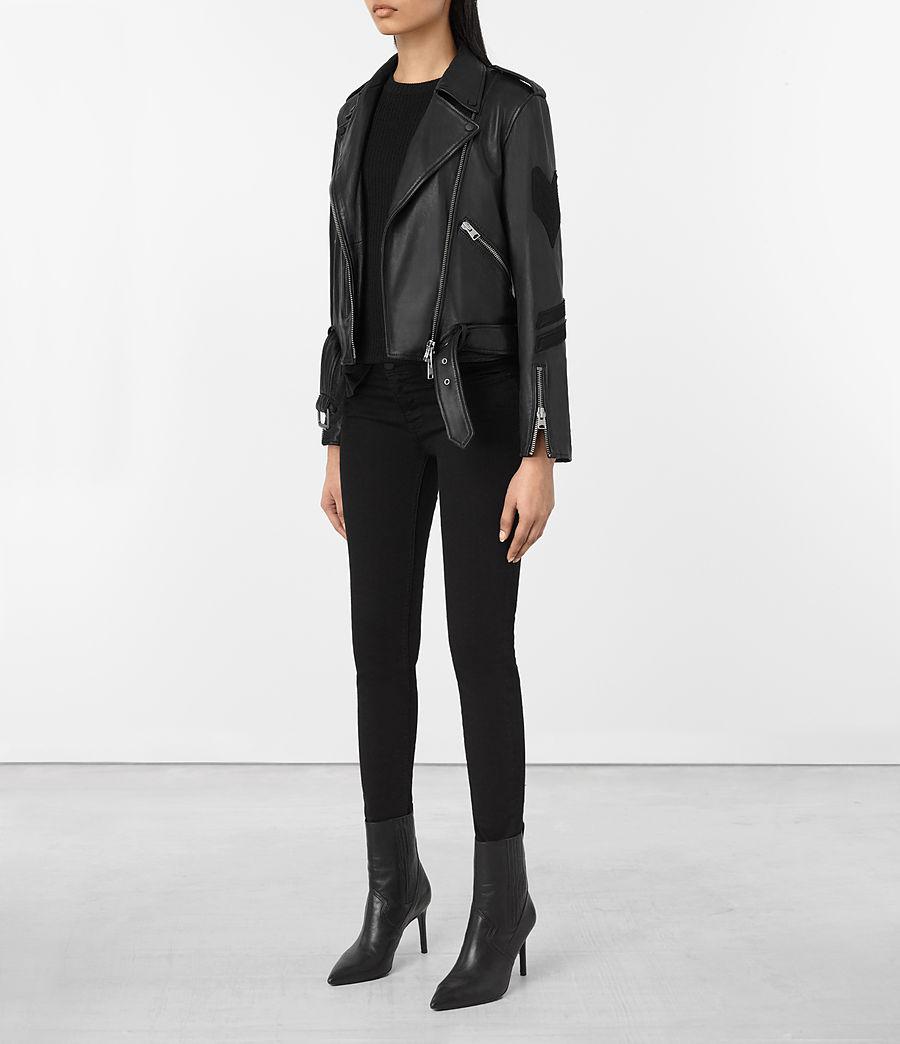 Womens Badge Balfern Leather Biker Jacket (black) - Image 2