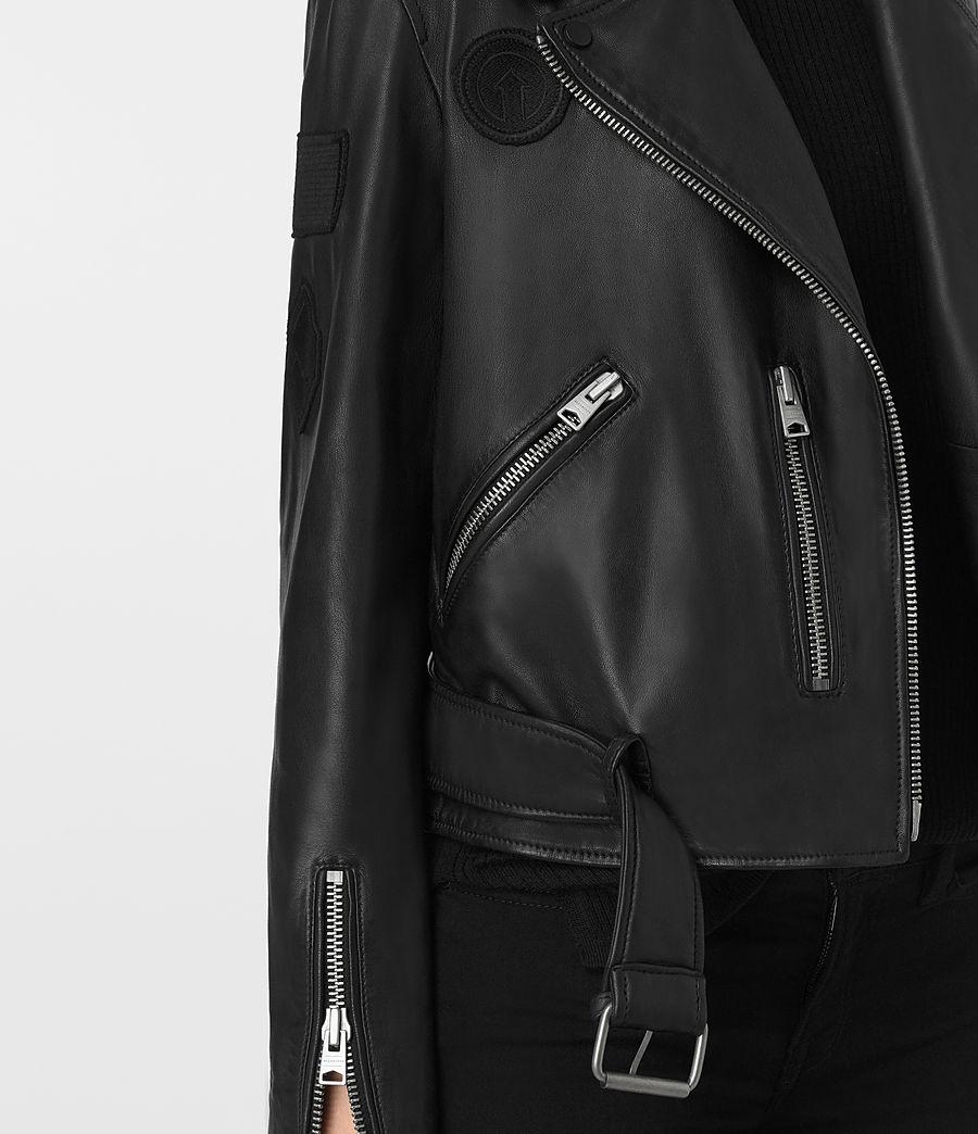 Womens Badge Balfern Leather Biker Jacket (black) - Image 3