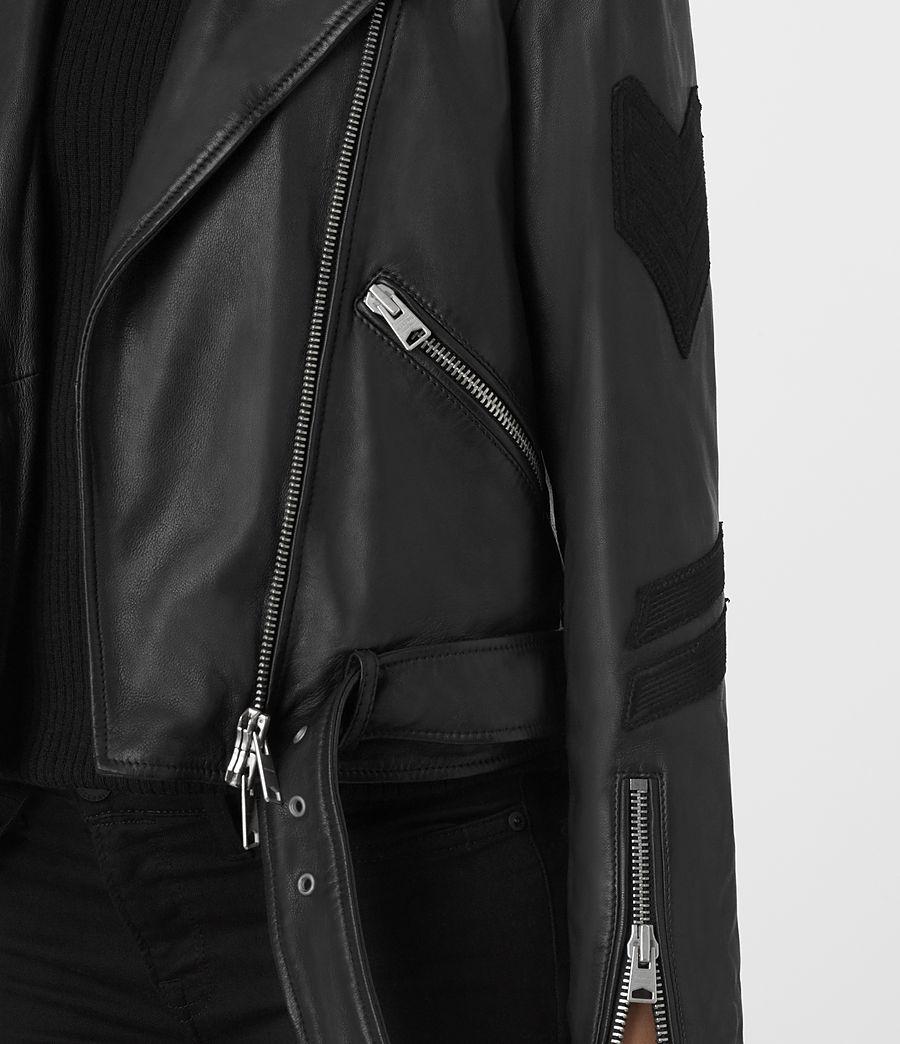 Womens Badge Balfern Leather Biker Jacket (black) - Image 4