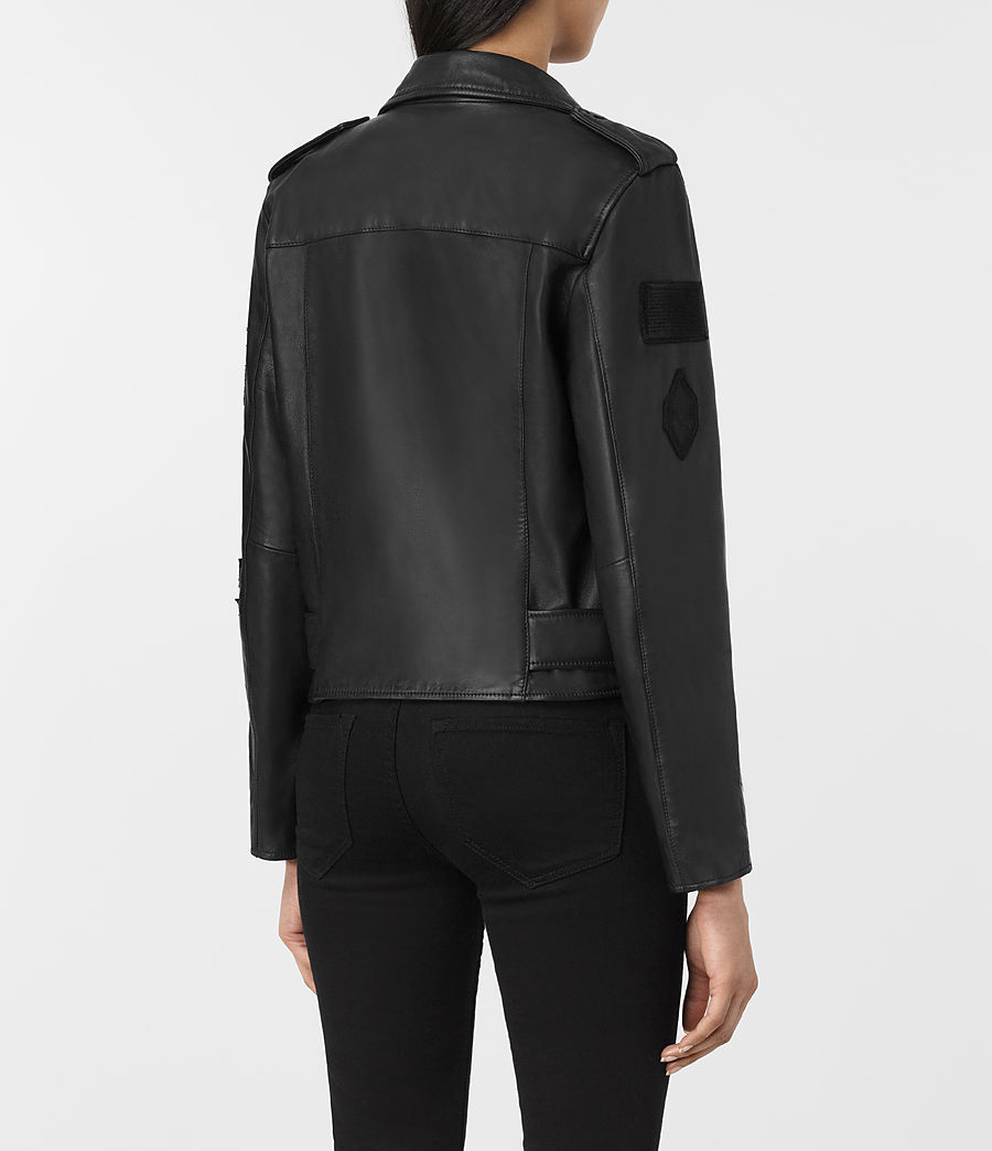 Womens Badge Balfern Leather Biker Jacket (black) - Image 5
