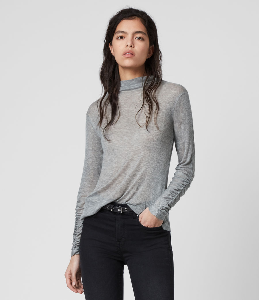 Women's Francesco Roll Neck Top (grey_marl) - Image 1