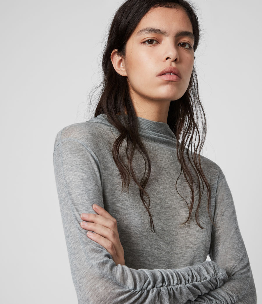 Women's Francesco Roll Neck Top (grey_marl) - Image 2