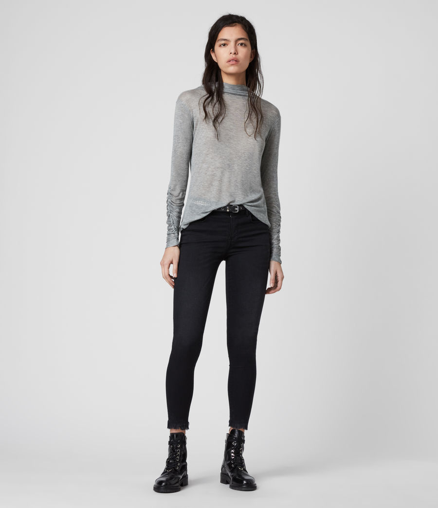 Women's Francesco Roll Neck Top (grey_marl) - Image 3