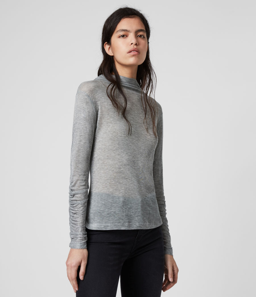 Women's Francesco Roll Neck Top (grey_marl) - Image 4