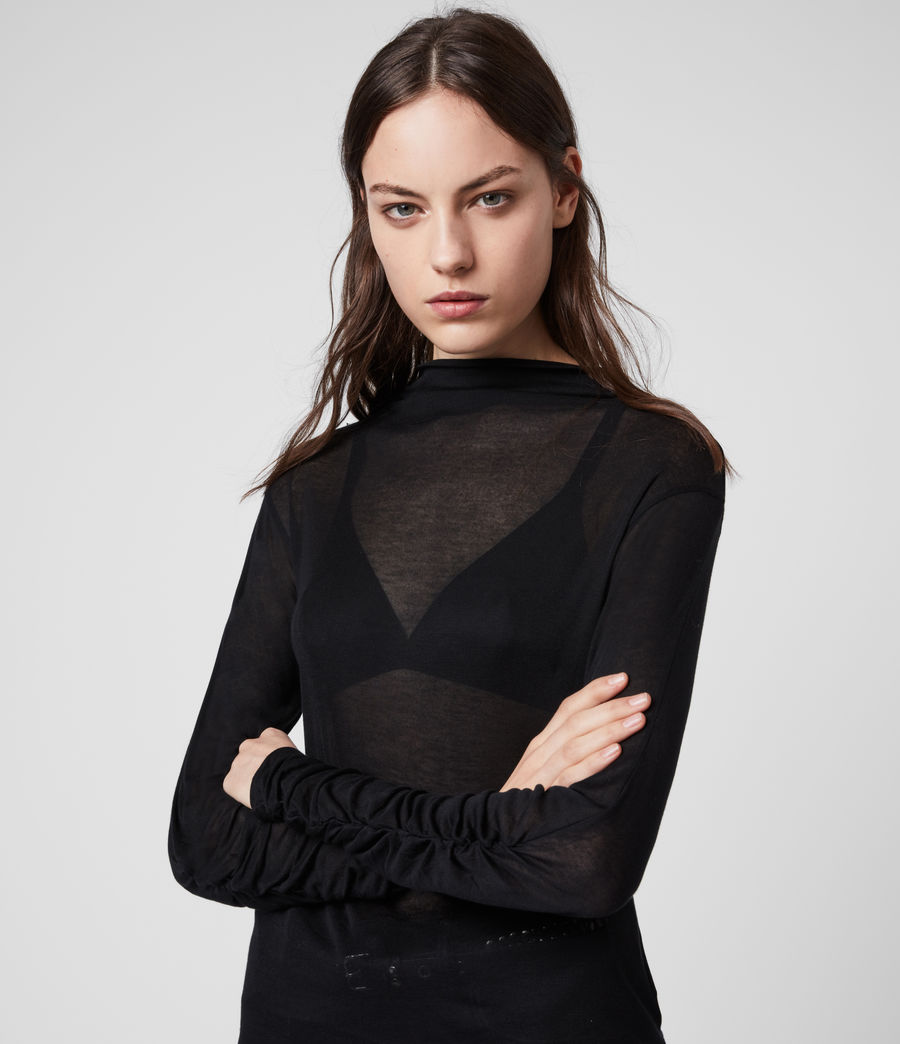 Womens Francesco Roll Neck Top (black) - Image 2
