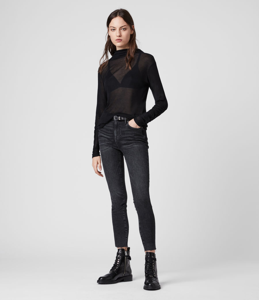 Womens Francesco Roll Neck Top (black) - Image 3