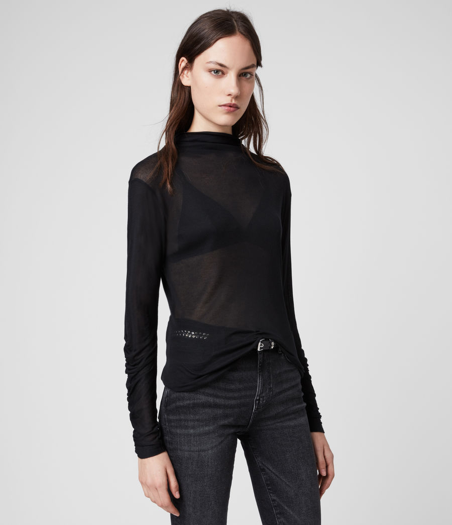 Womens Francesco Roll Neck Top (black) - Image 4