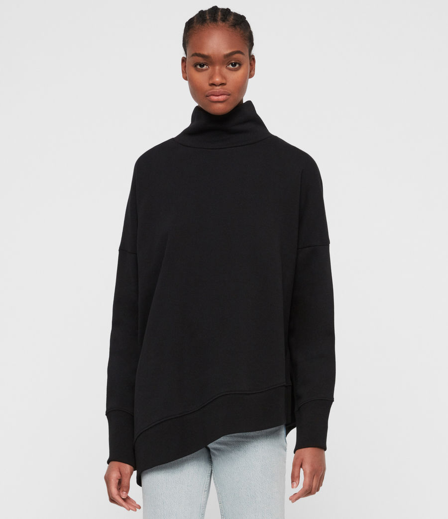 Womens Navarre Roll Neck Sweatshirt (jet_black) - Image 2
