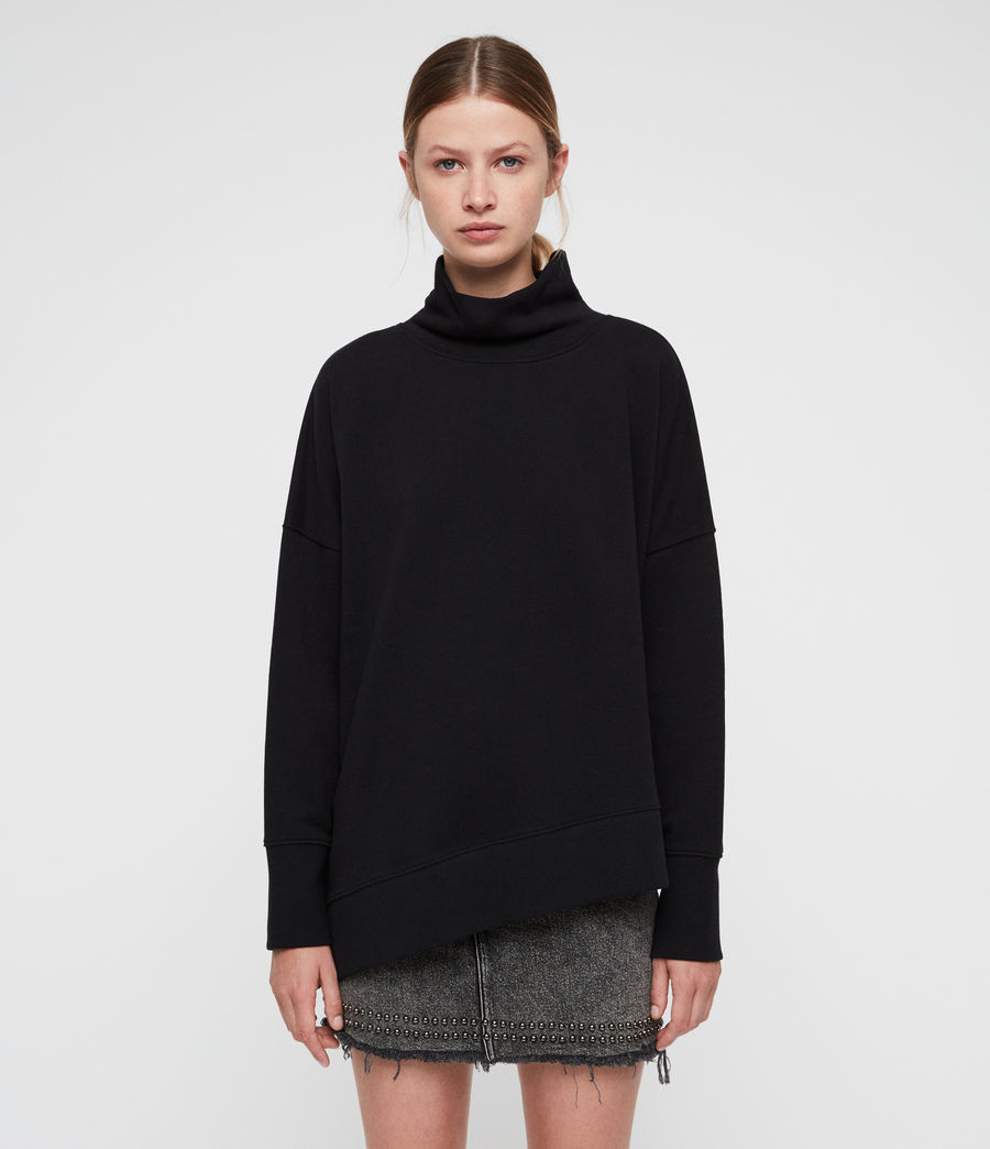 Womens Navarre Roll Neck Sweatshirt (black) - Image 3