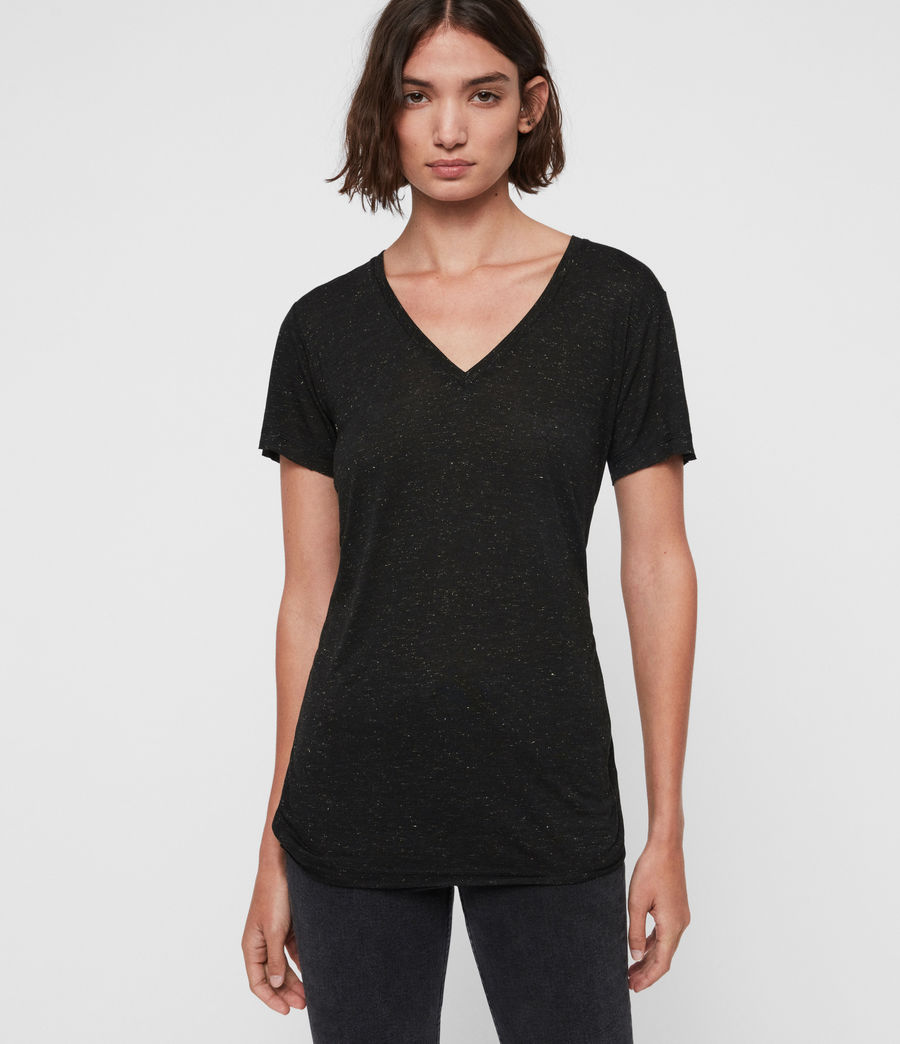 Womens Emelyn Shimmer T-Shirt (black) - Image 1