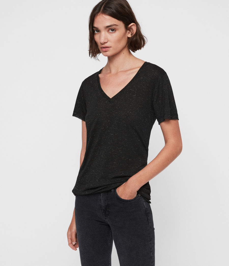 Damen Emelyn Schimmer T-Shirt (black) - Image 3