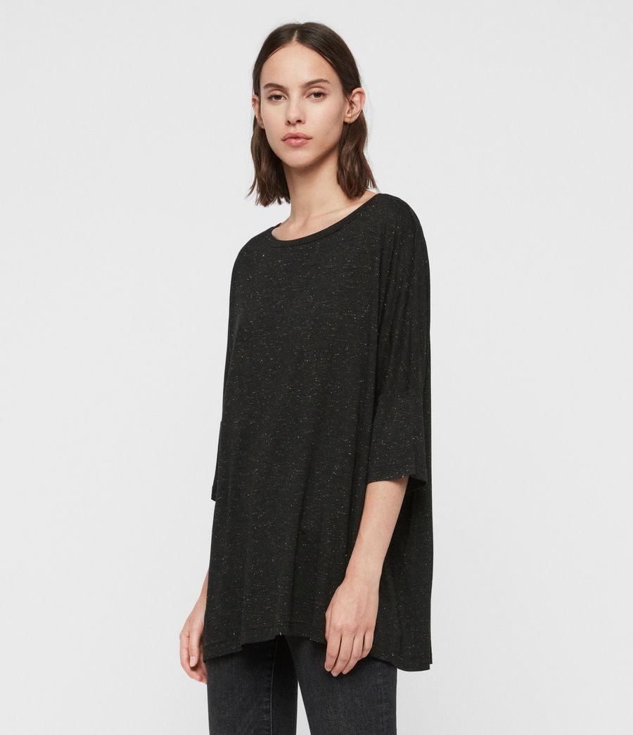 Mujer Camiseta Efecto Glitter Plira Shimmer (black) - Image 3