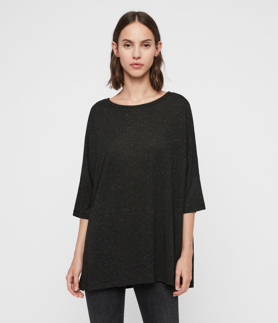 Mujer Camiseta Efecto Glitter Plira Shimmer (black) - Image 4