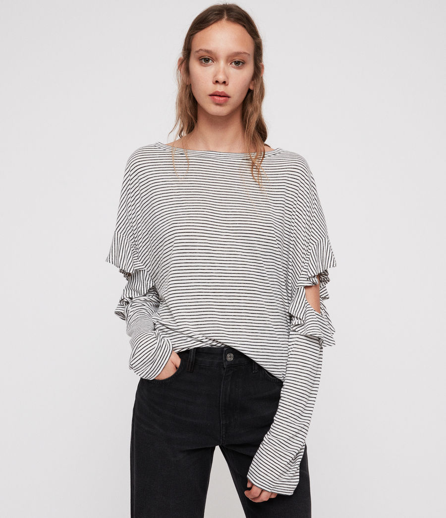 Damen Favro Stripe T-Shirt (chalk_white_black) - Image 1