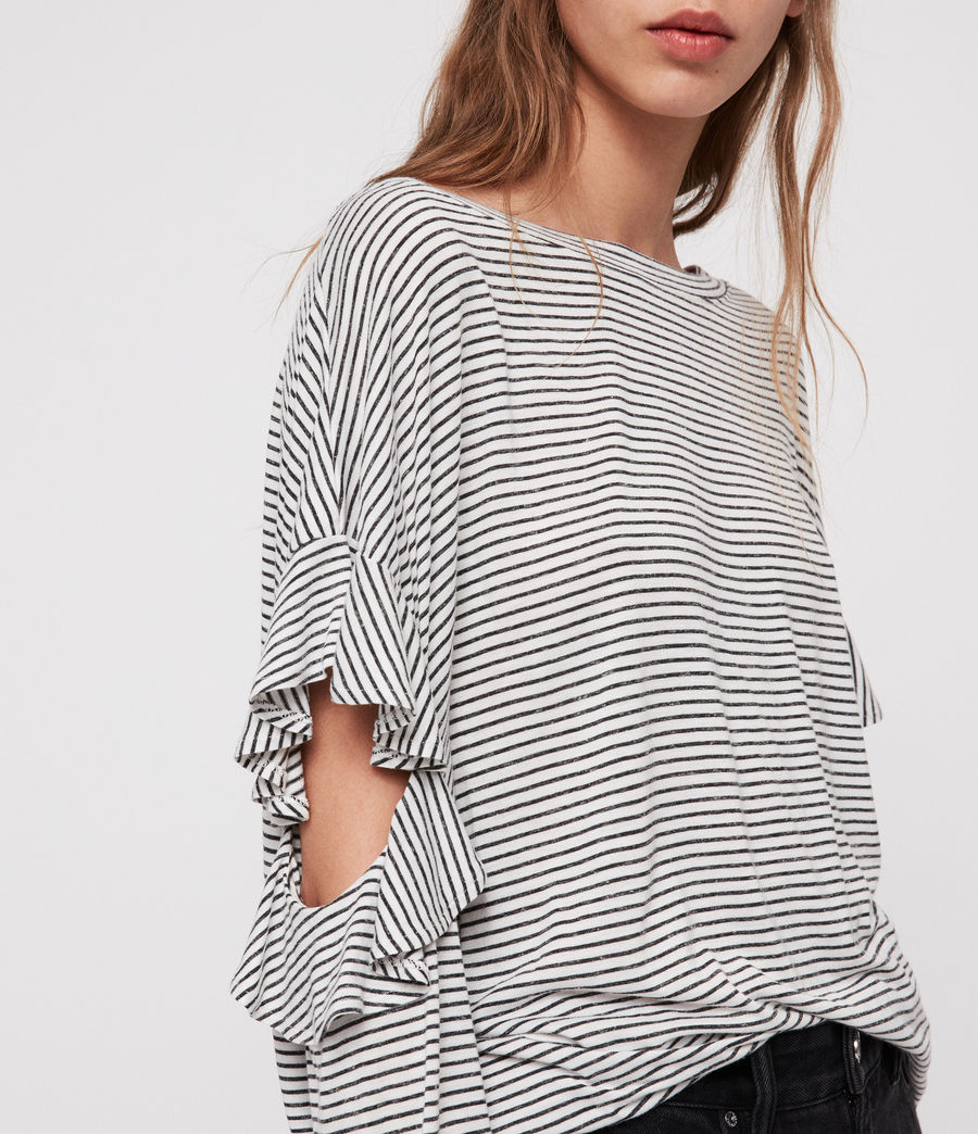 Damen Favro Stripe T-Shirt (chalk_white_black) - Image 2
