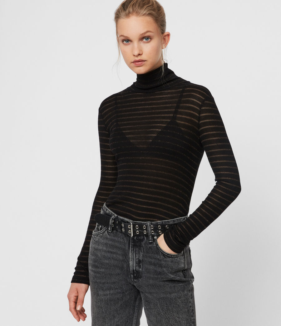 Women's Esme Shimmer Stripe Roll Neck Top (copper_black) - Image 1