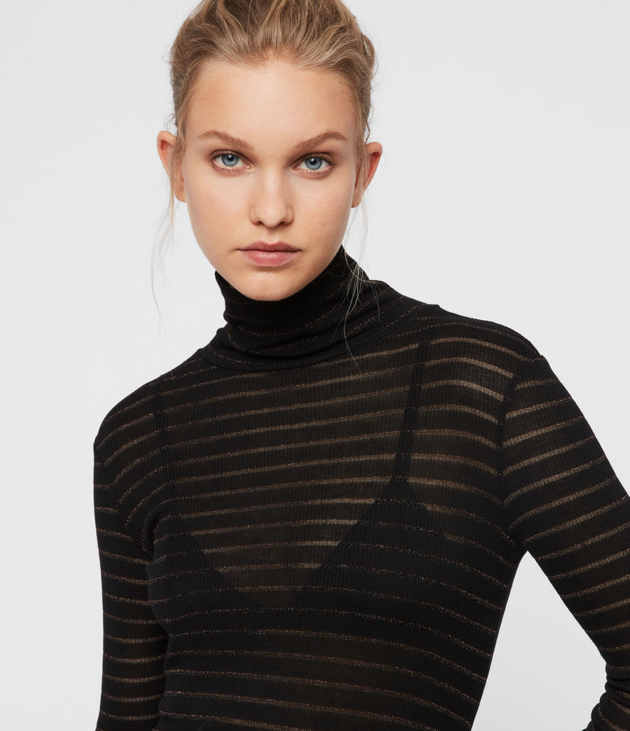 Women's Esme Shimmer Stripe Roll Neck Top (copper_black) - Image 3