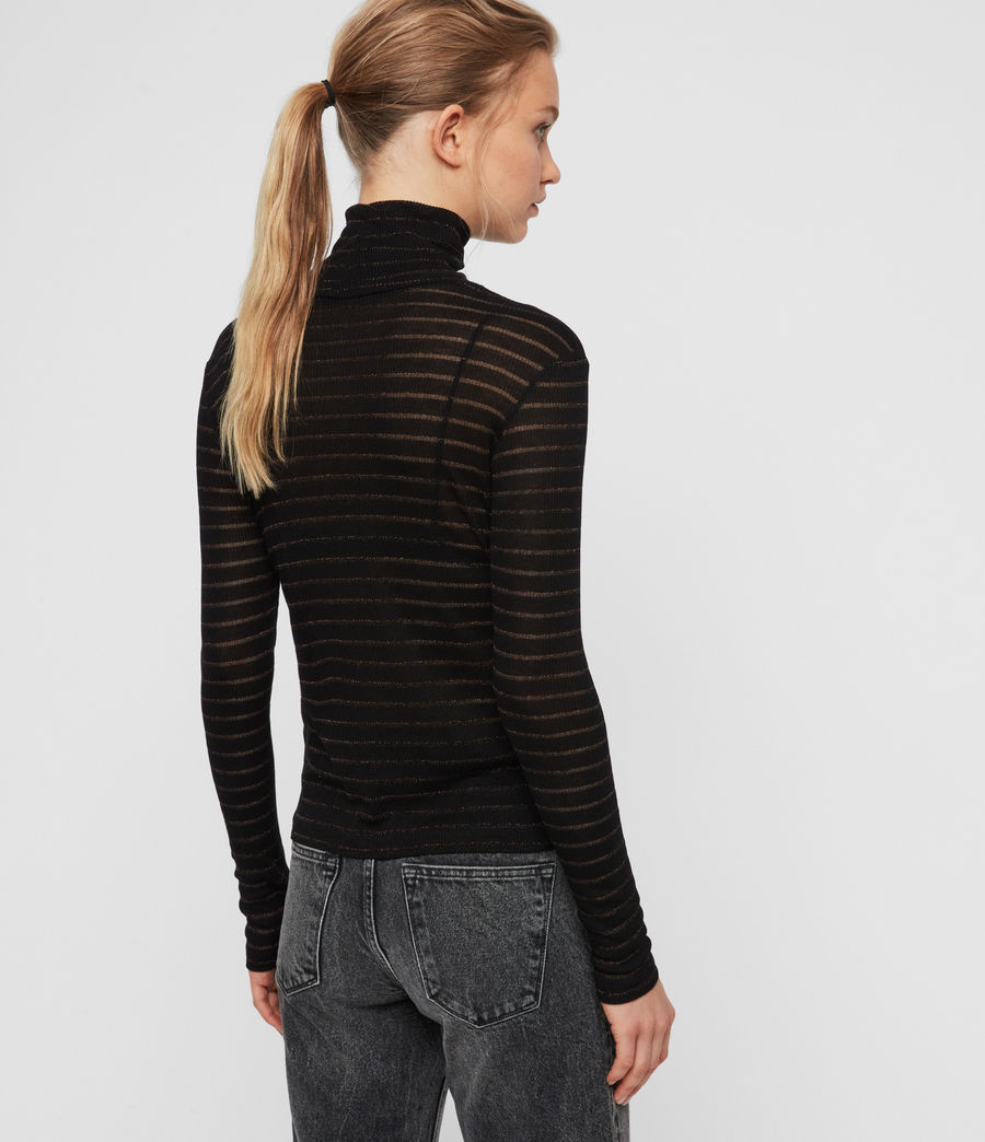 Women's Esme Shimmer Stripe Roll Neck Top (copper_black) - Image 5
