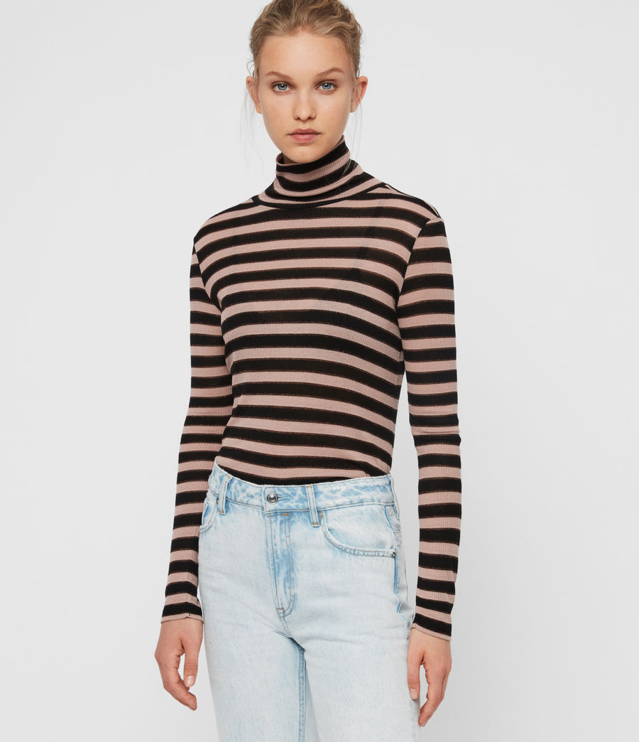Women's Esme Shimmer Stripe Roll Neck Top (nude_pink_black) - Image 1