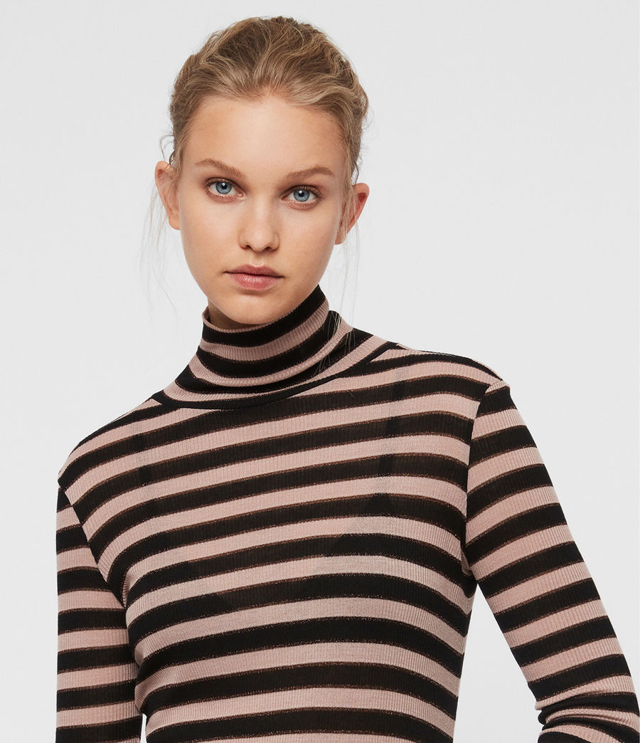 Women's Esme Shimmer Stripe Roll Neck Top (nude_pink_black) - Image 2