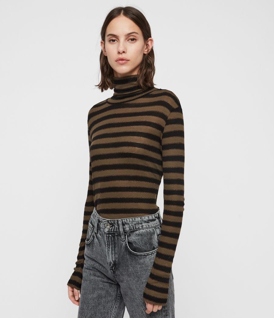 Women's Esme Shimmer Stripe Roll Neck Top (khaki_black) - Image 1