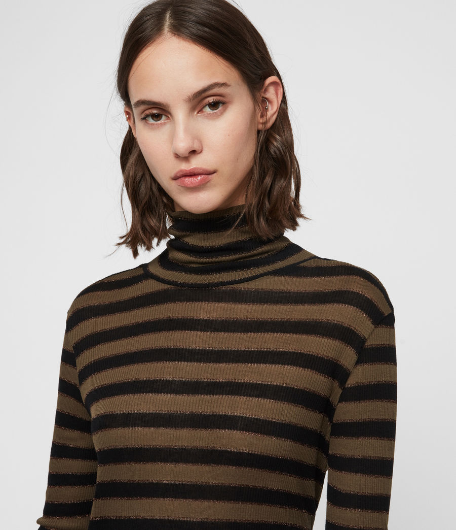 Women's Esme Shimmer Stripe Roll Neck Top (khaki_black) - Image 2