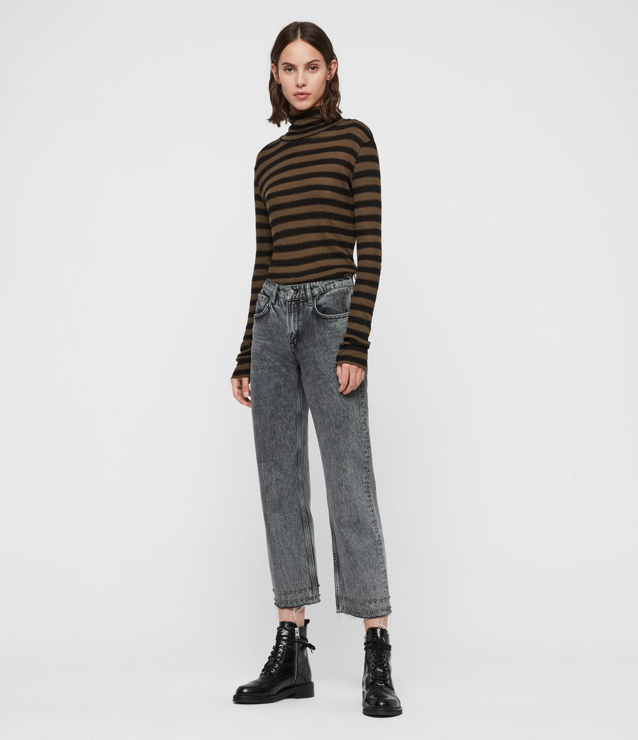 Women's Esme Shimmer Stripe Roll Neck Top (khaki_black) - Image 3
