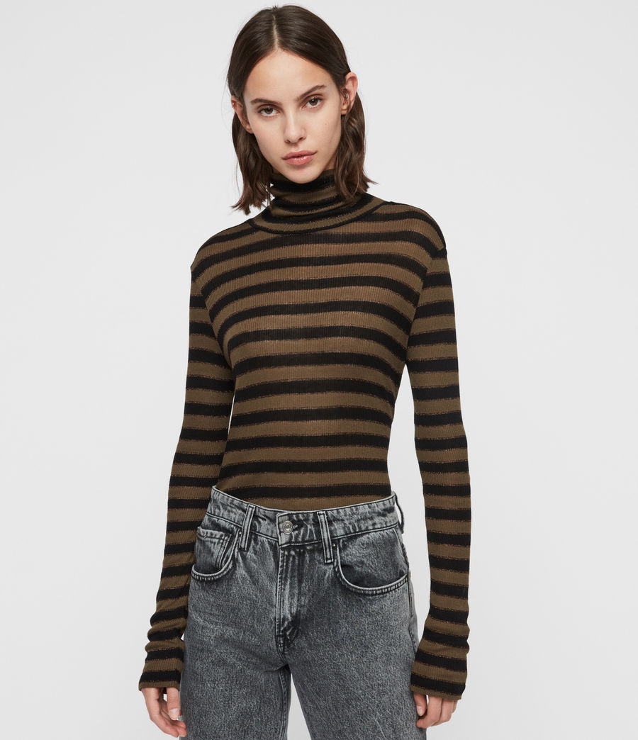 Women's Esme Shimmer Stripe Roll Neck Top (khaki_black) - Image 4