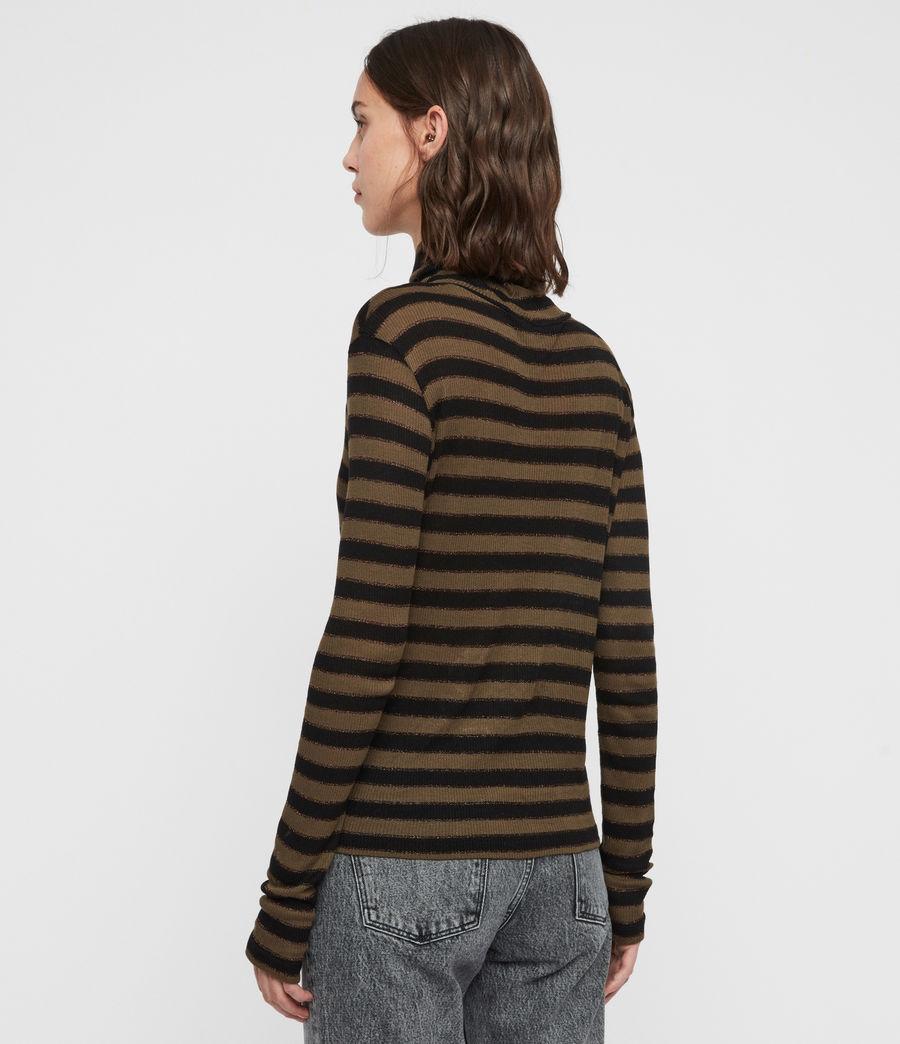Women's Esme Shimmer Stripe Roll Neck Top (khaki_black) - Image 5