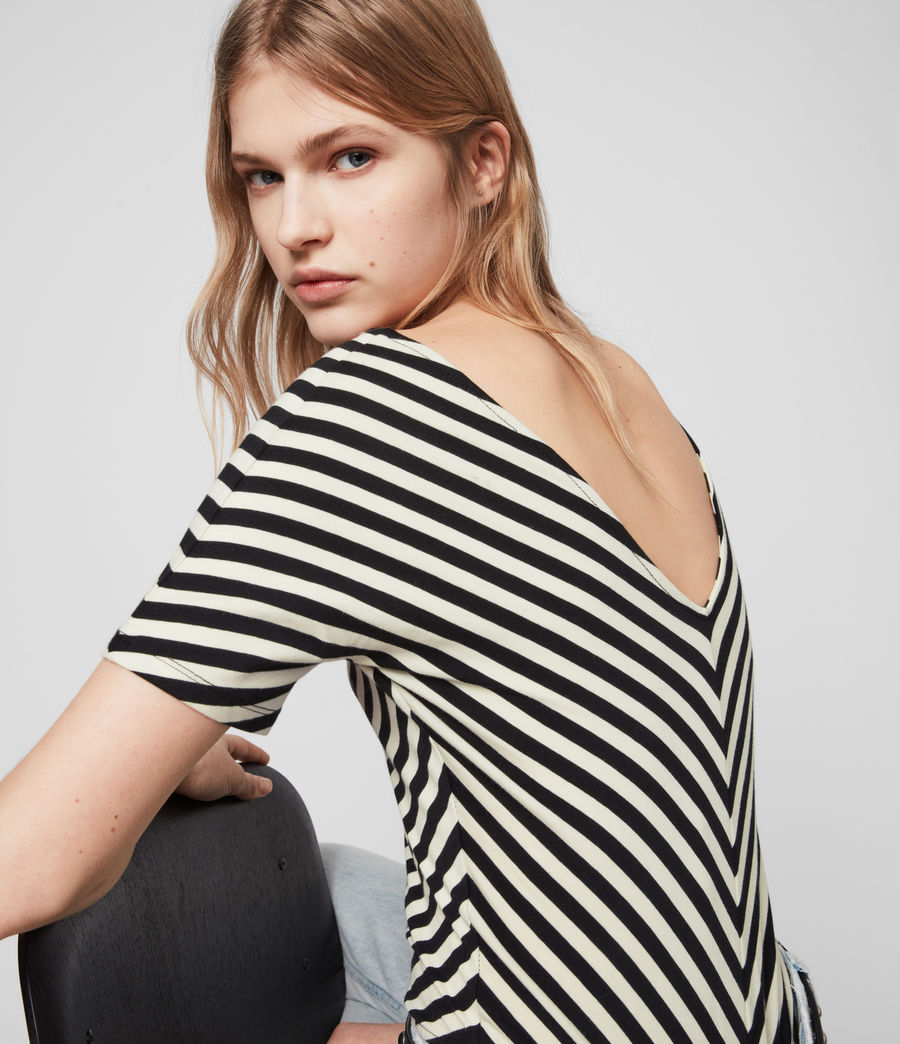 Mujer Keavey Stripe Bodysuit (black_chalk_white) - Image 1