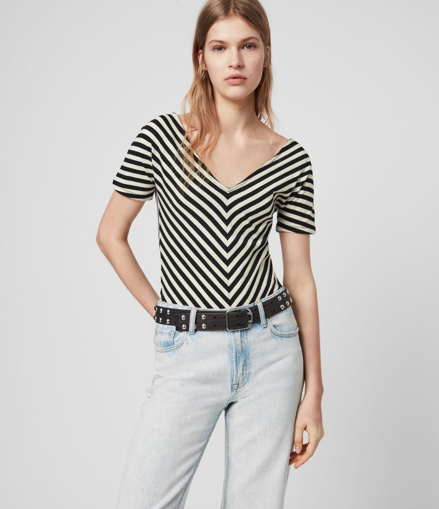 Mujer Keavey Stripe Bodysuit (black_chalk_white) - Image 2