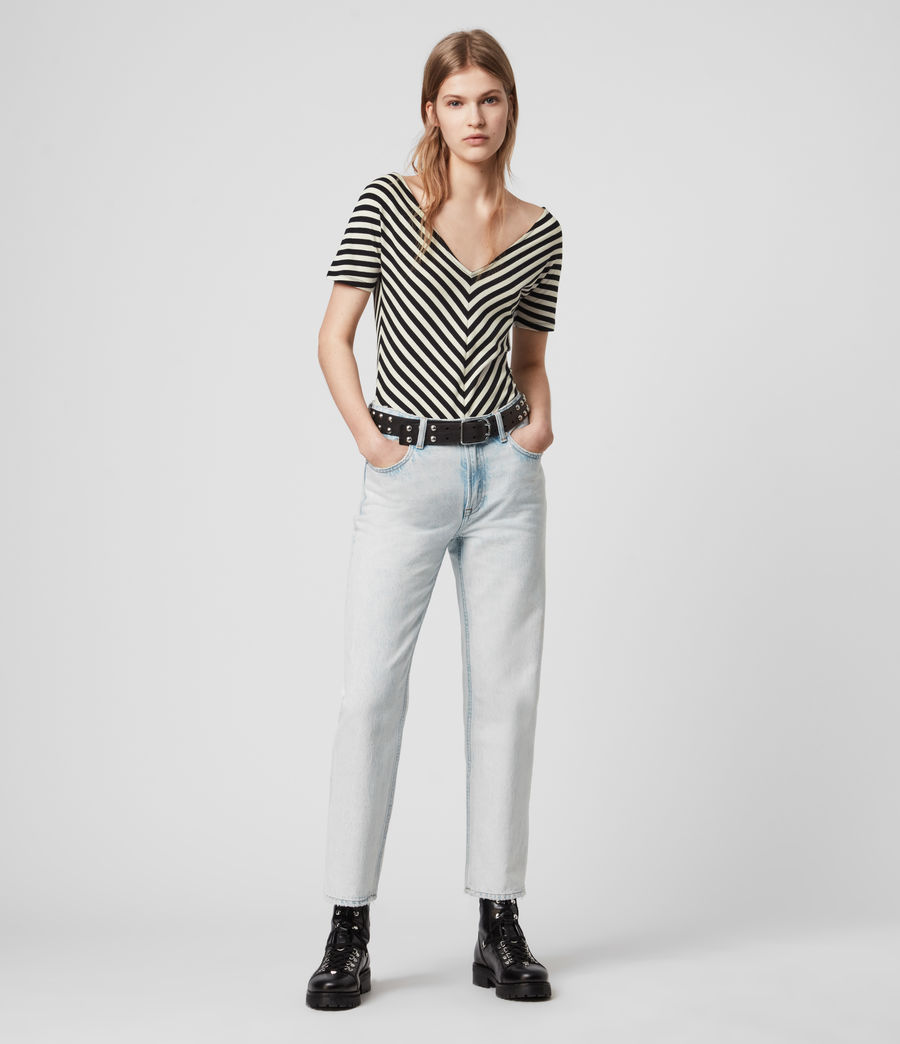 Mujer Keavey Stripe Bodysuit (black_chalk_white) - Image 3