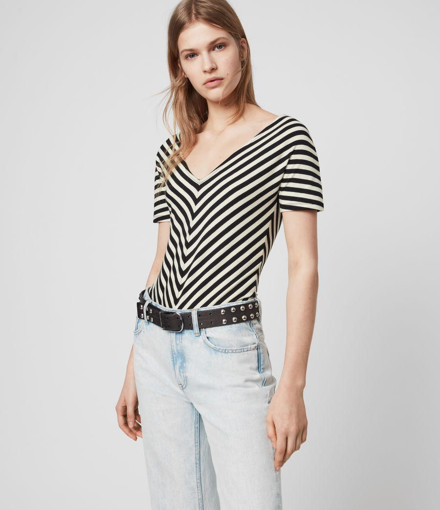 Mujer Keavey Stripe Bodysuit (black_chalk_white) - Image 4