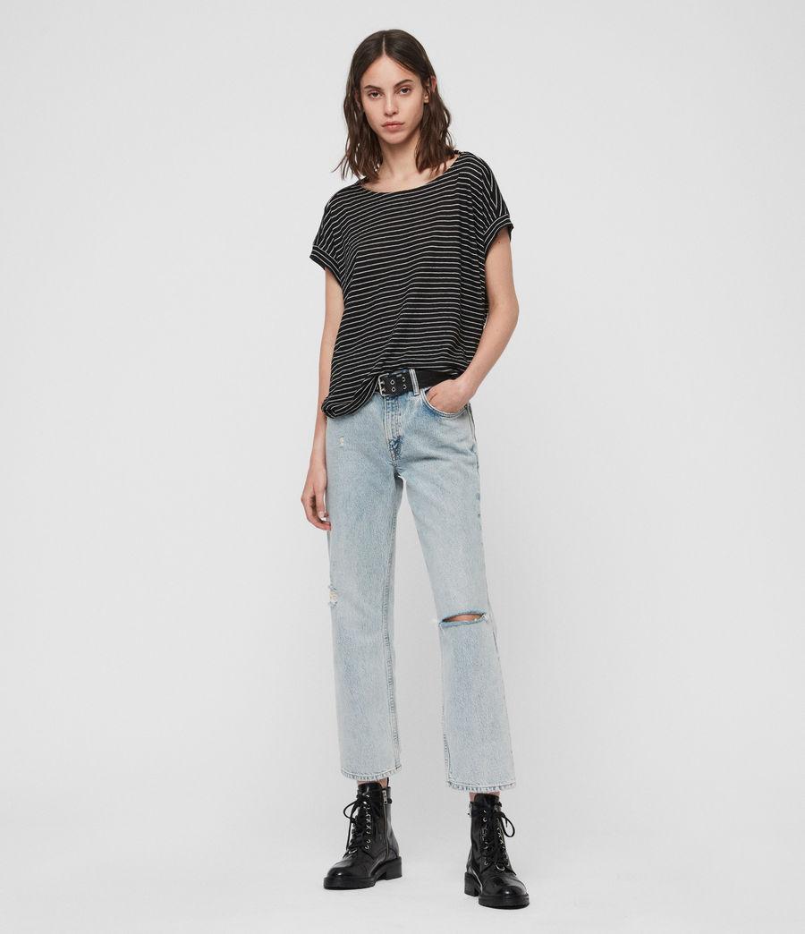 Mujer Camiseta Pina Stripe (black_ecru_white) - Image 1