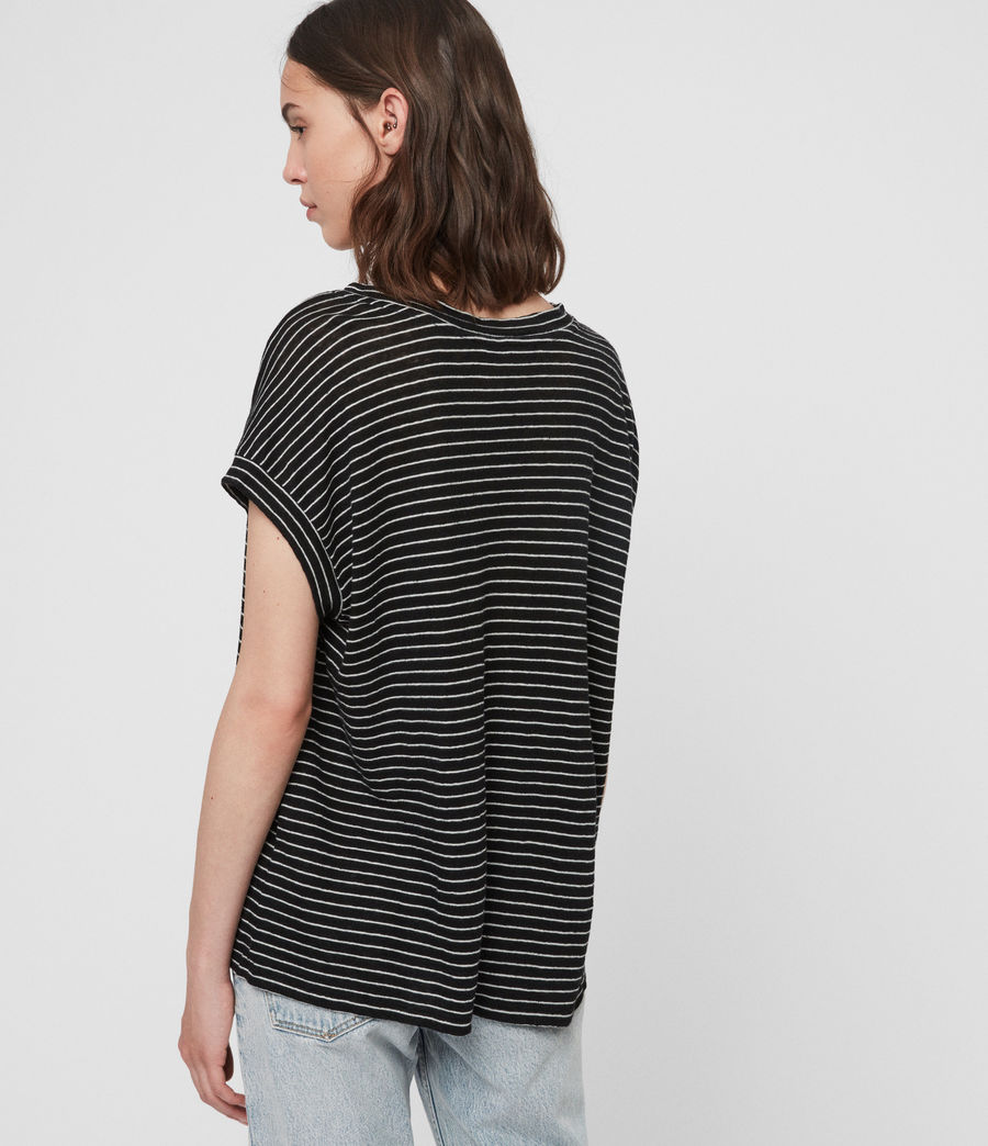 Women's Pina Stripe T-Shirt (black_ecru_white) - Image 4