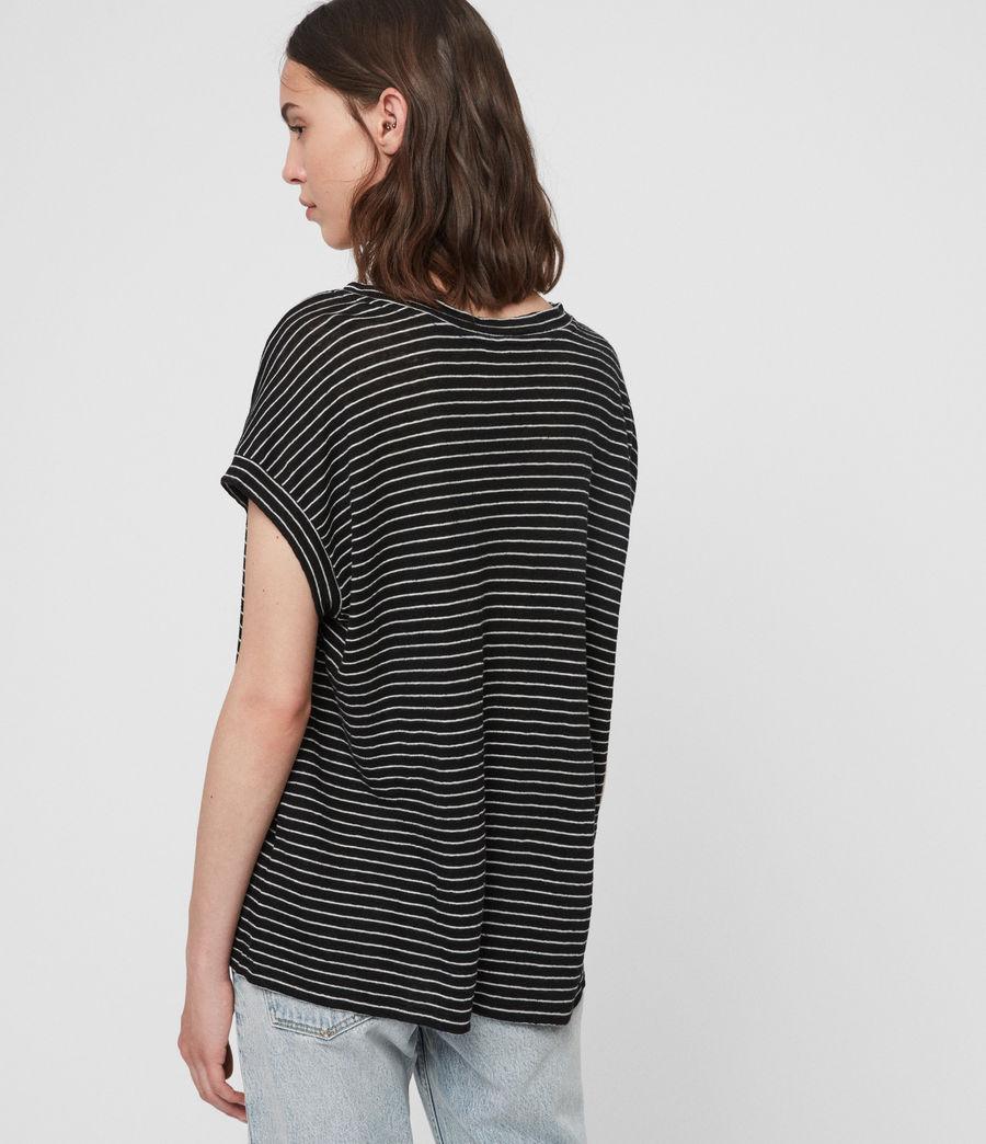 Mujer Camiseta Pina Stripe (black_ecru_white) - Image 4