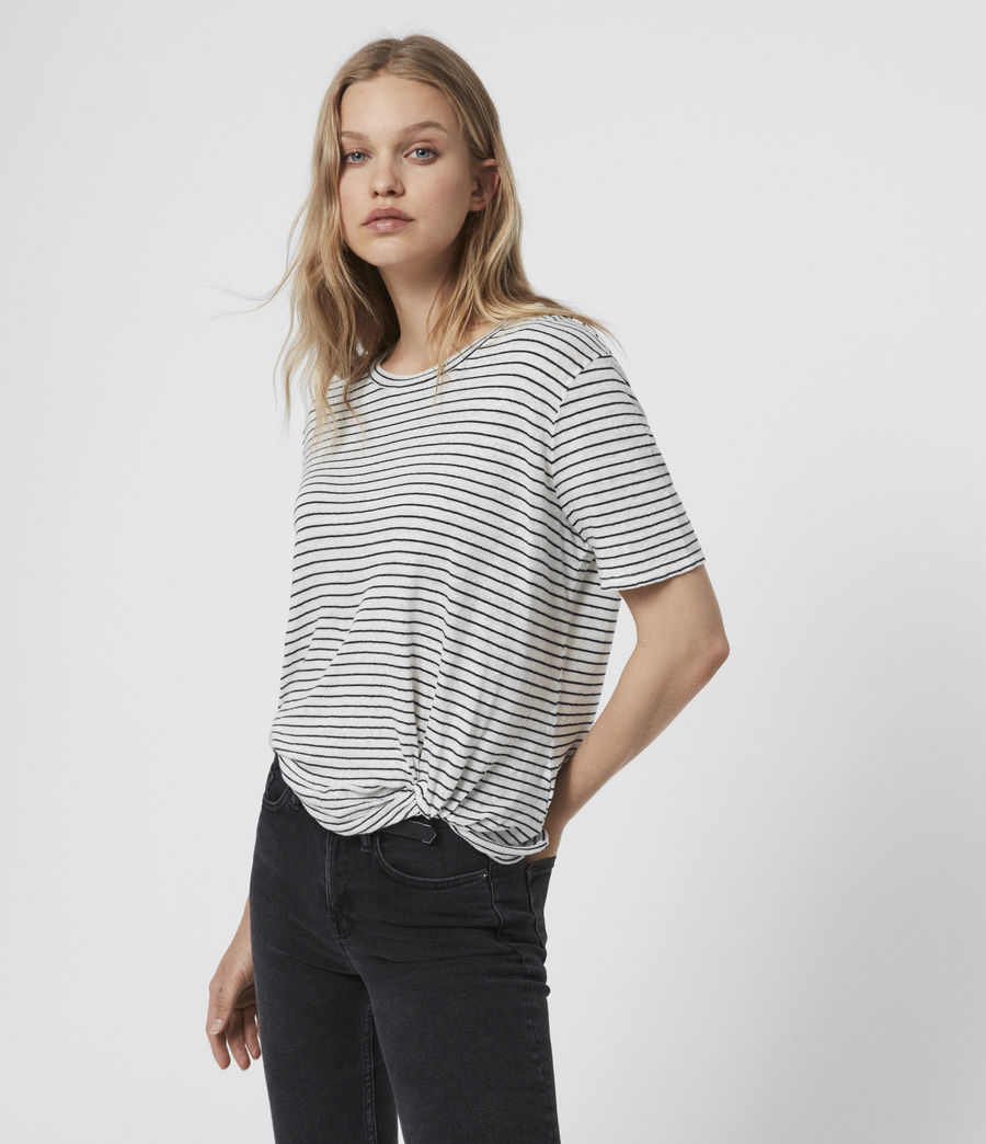 Womens Wilma Stripe T-Shirt (chalk_ink) - Image 1