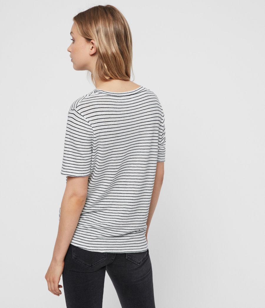 Womens Wilma Stripe T-Shirt (chalk_ink) - Image 4